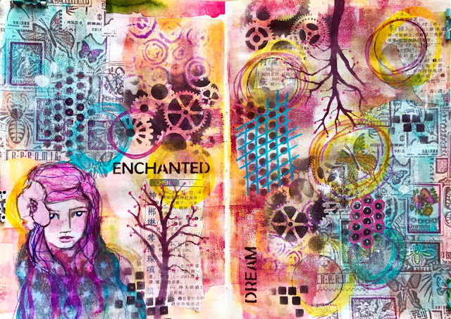 mixed media pages built in the Mother Leda Sketchbook