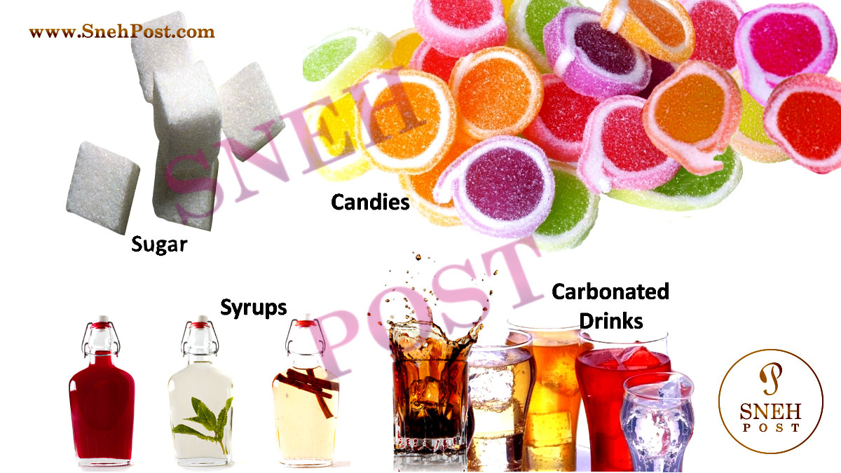 Carbohydrates Type and Carbohydrate rich foods: Refined or Processed Sources of carbohydrate such as Sugars, syrups, candies, carbonated drinks