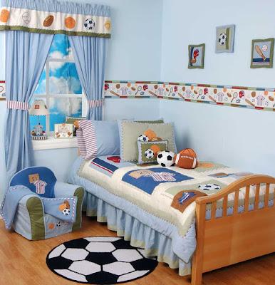 dekorasi kamar tidur anak laki-laki hobi bola