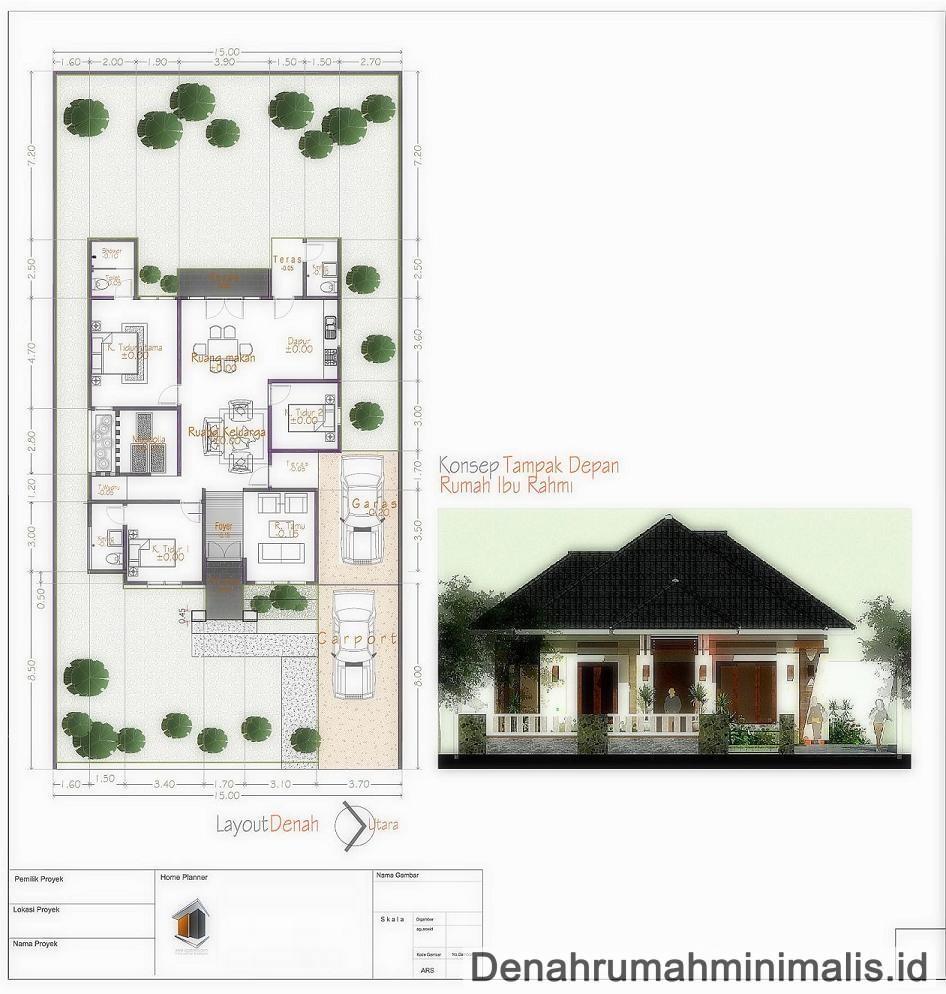 gambar denah rumah sederhana 4 kamar tidur 3