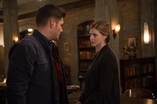 "Jensen Ackles as Dean Winchester and Elizabeth Blackmore as Toni Bevell in Supernatural 12x22 ""Who We Are"""