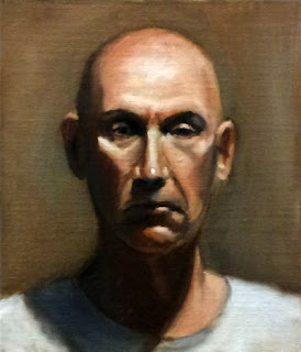 Oil painting of a middle-aged bald man in a white t-shirt.