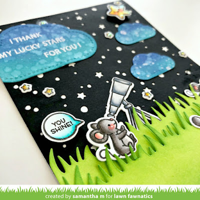 Thank My Lucky Stars for You Card by Samantha Mann, Lawn Fawnatics, Lawn Fawn, Thank You Card, Cards, Distress Inks, Ink Blending, Night Sky, #lawnfawn #thankyou #cards #distressinks #inkblending