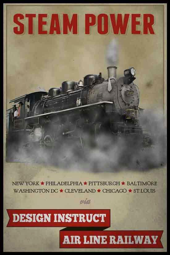 Create a Vintage Steam Locomotive Poster in Photoshop