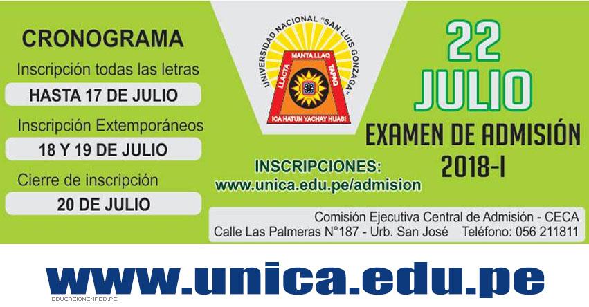 UNICA: Admisión 2018-1 (Examen 22 Julio) Inscripción Postulantes - Universidad Nacional San Luis Gonzaga de Ica - www.unica.edu.pe