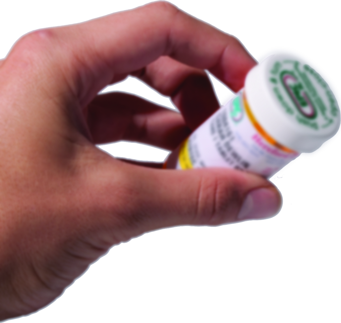 Man holding a medicine bottle