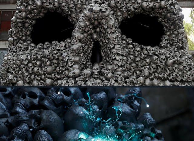 Camera dell'immortalità, scultura composta da teschi di metallo.
