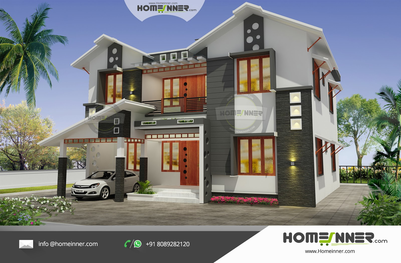2292 sqft 5 bhk modern attractive kerala house design for Free indian house plans