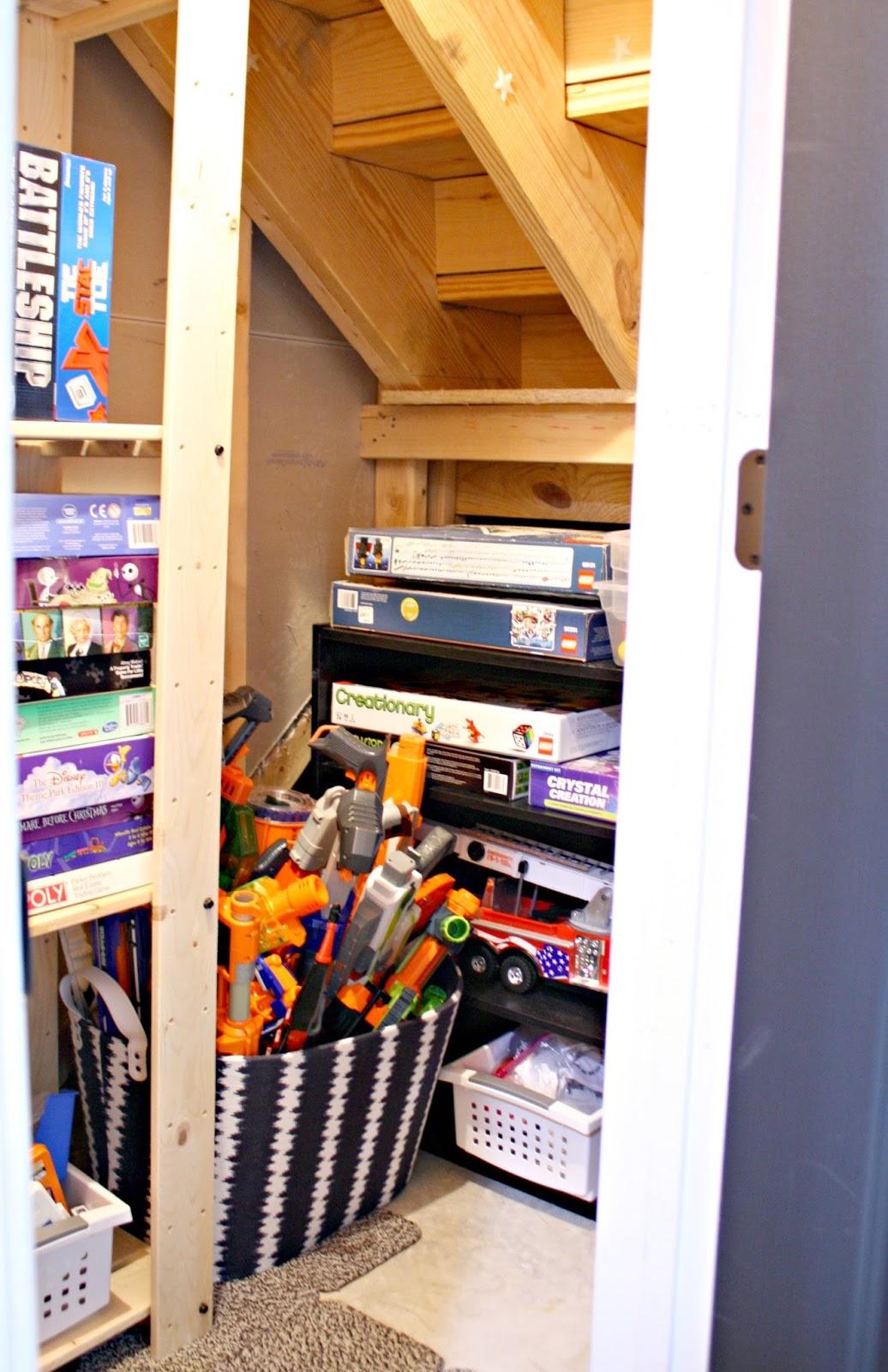 easy diy nerf gun storage from thrifty