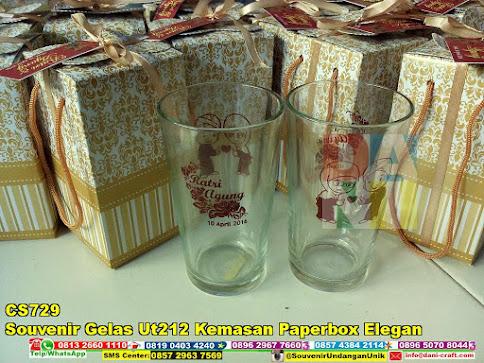 jual Souvenir Gelas Ut212 Kemasan Paperbox Elegan