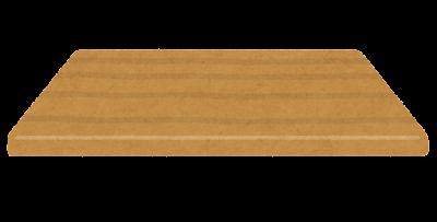 木のテーブルのイラスト(正面・天板のみ)