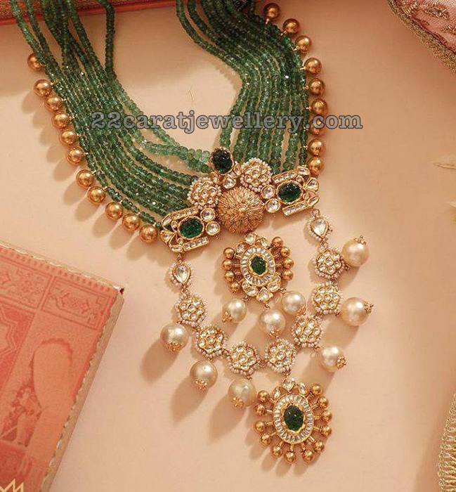 Emerald Beads Long Chain with Kundan Pendant