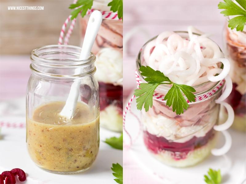 Leberkäse Salat im Glas mit Senf Dressing, roter Bete, Ziegenkäse, Rettich