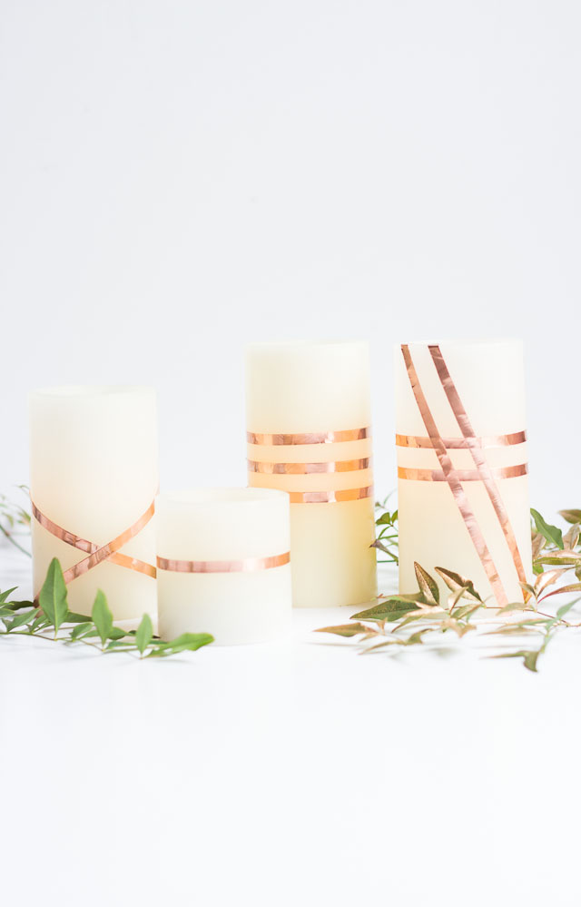 Wrap Flameless Led Candles With Copper Foil Tape For A Gorgeous Look Perfect For Fall