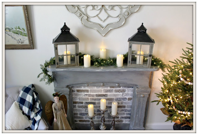 French Country-French Farmhouse-Christmas-Bedroom-Lanterns-Faux Fireplace-From My From Porch To Yours