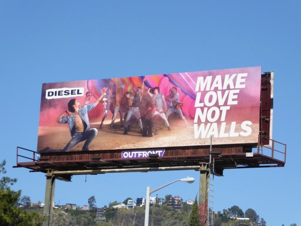 Diesel Make love not walls billboard