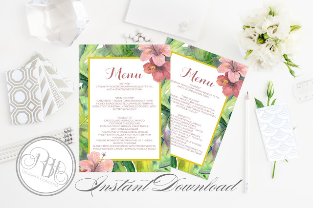 tropical island watercolour menu card template by rbh designer concepts