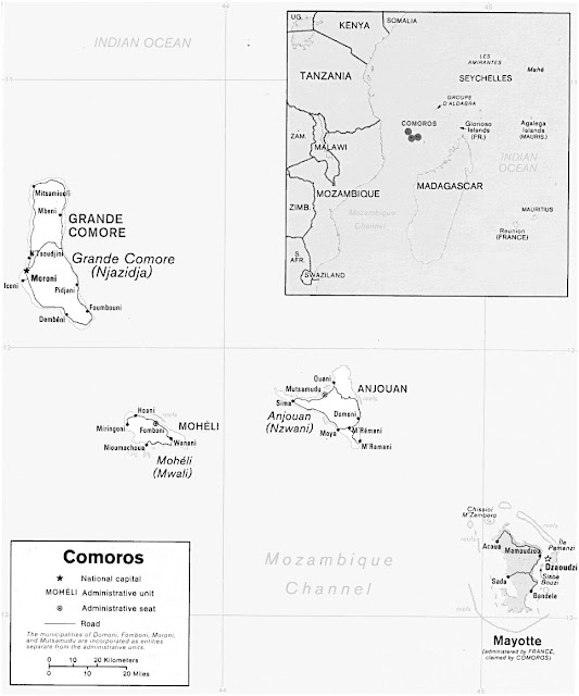 image: Black and white Comoros Islands Map