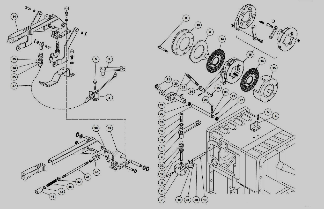Tractor parts and attachments: Handbrake and control link