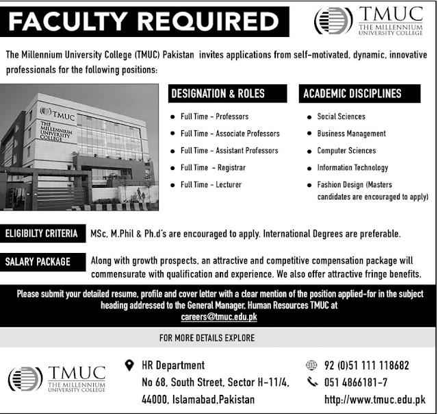 Lecturers Jobs in Millennium University College 2017