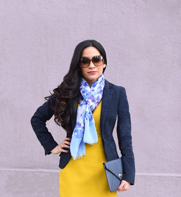 Joanna Joy A Stylish Love Story Fashion Blogger Petite Fashion Blogger yellow Zara shift dress Vera Wang floral blue and purple scarf Armani Exchange navy blue Wool Jacket Tom Ford brown sunglasses Sorelli blue envelope clutch