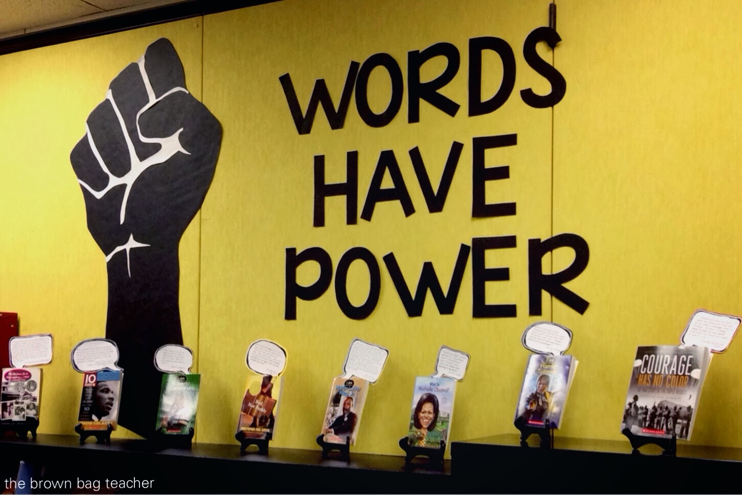 Words Have Power {Book Display} - The Brown Bag Teacher