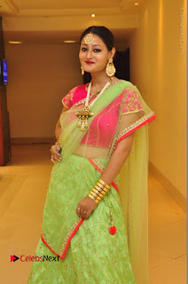Model Nilofer Haidry Stills in Green Saree at Trendz Exhibition and Sale 2016  0039.JPG