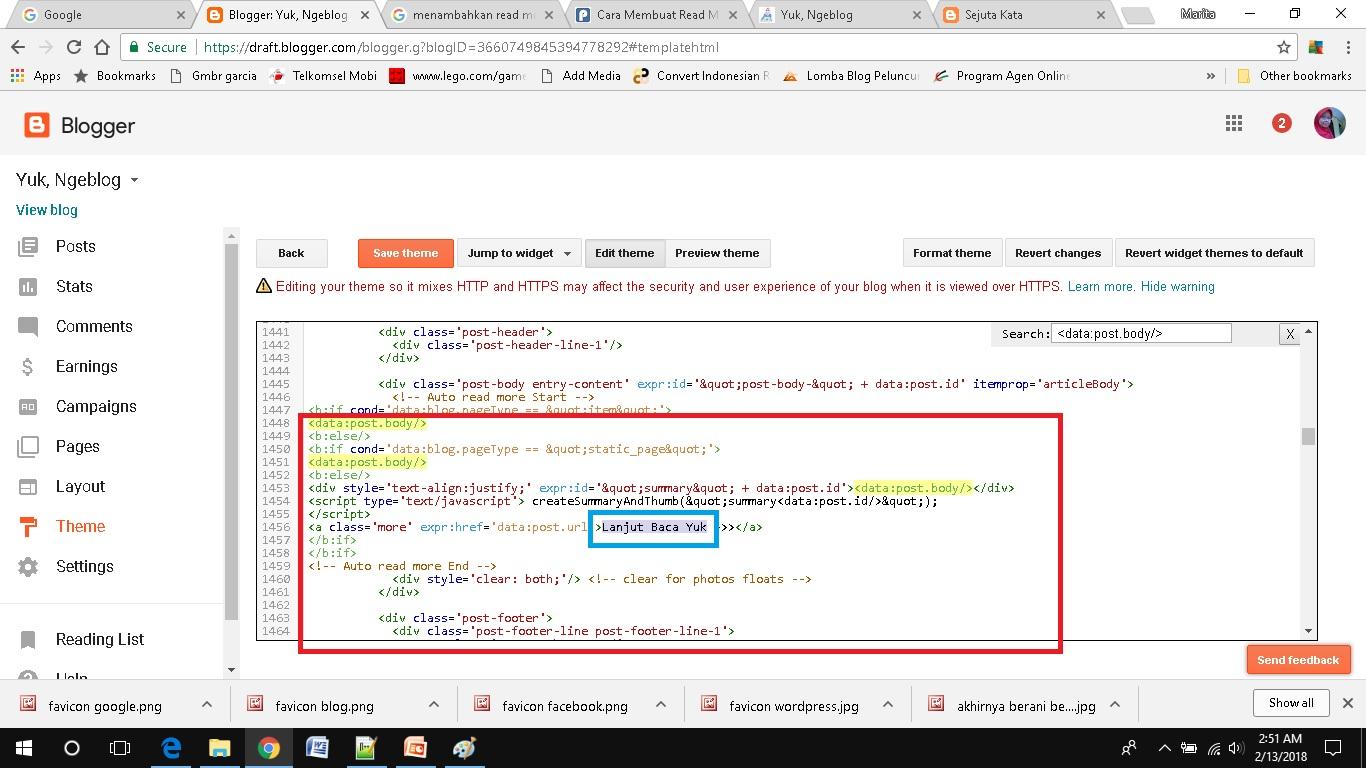 cara mudah menambahkan read more pada blogspot kode html masuk