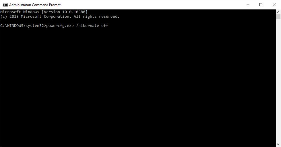 Tắt chế độ Hibernate từ cửa sổ Command Prompt trong Windows 10