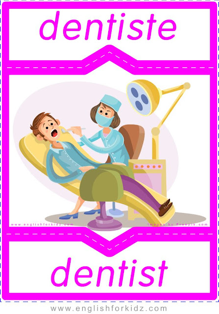 dentist in French, dentiste en anglais, English-French professions flashcards