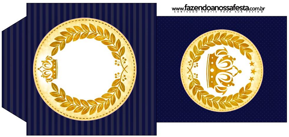 Golden Crown in Blue Free Printable Tea Bag.