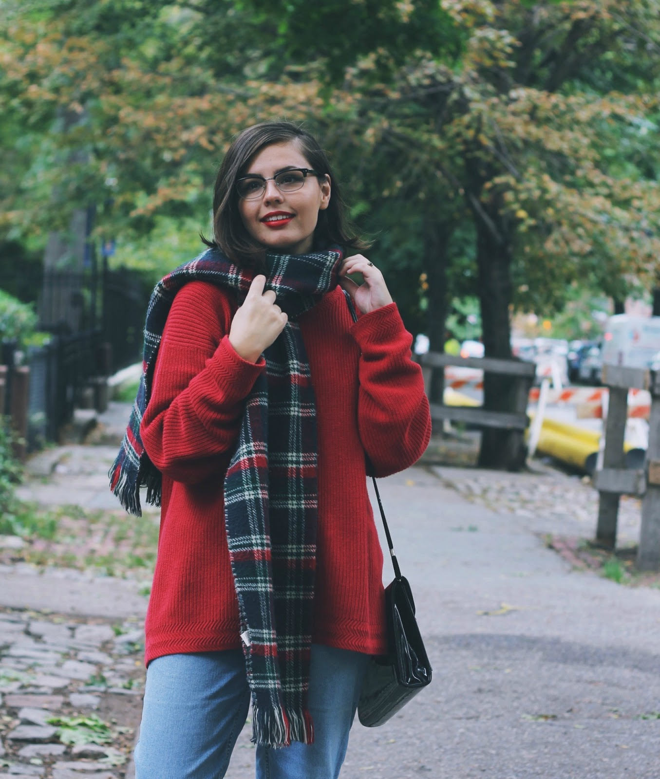 Fall Outfit with Plaid Scarf