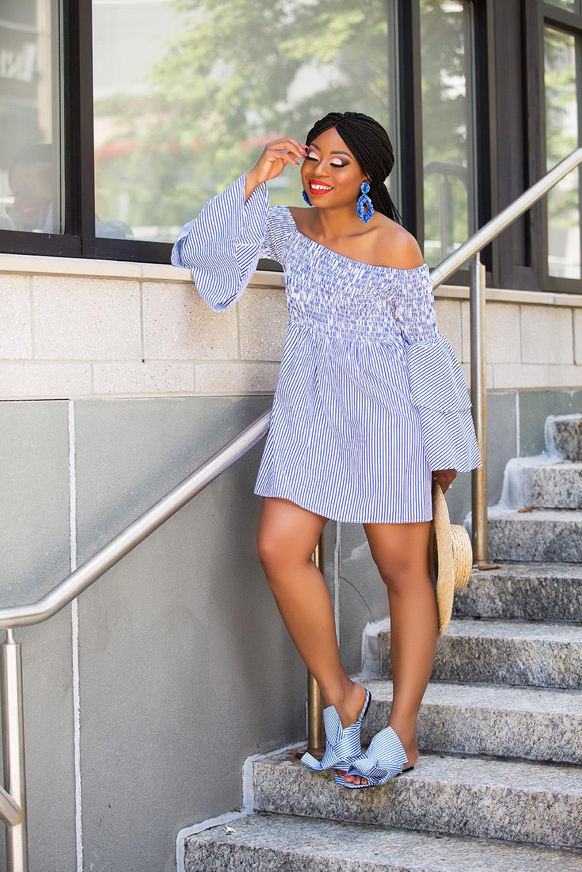 summer dress, chicwish bell sleeves stripe dress, www.jadore-fashion.com