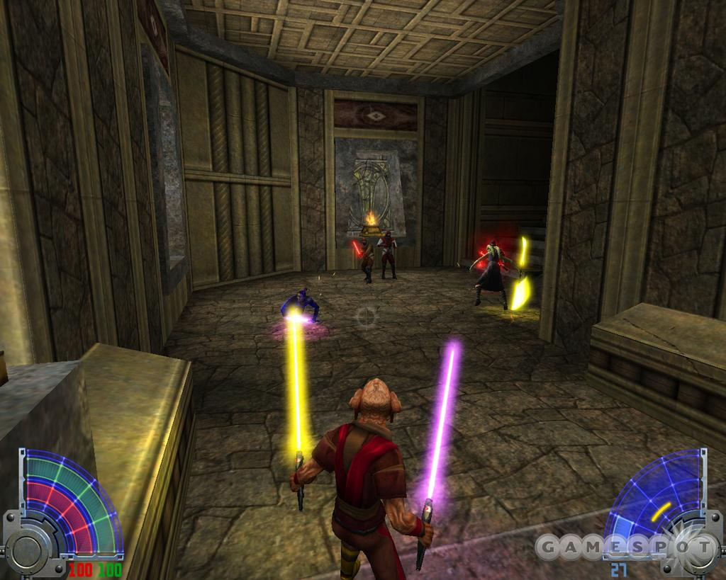 Wielding two lightsabres.
