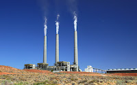 The Navajo Generating Station near Page, AZ burns locally mined coal to generate power for the Central Arizona Project, among other clients. But competition from low-priced natural gas will lead to the plant's closure by 2019, its owners say. (Photo Credit: Bill Morrow/Creative Commons) Click to Enlarge.