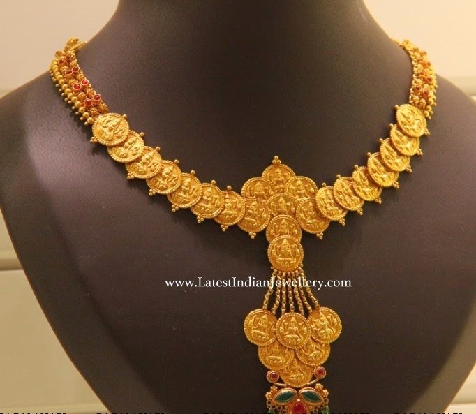 Trendy Gold Lakshmi Kasu Necklace