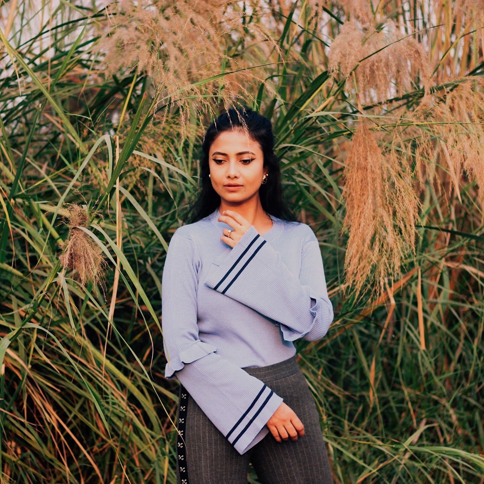 nakd, pale blue jumper, autumn style, how to style a jumper, blue and grey, 10 facts about me, 10 facts, indian blogger, uk blogger