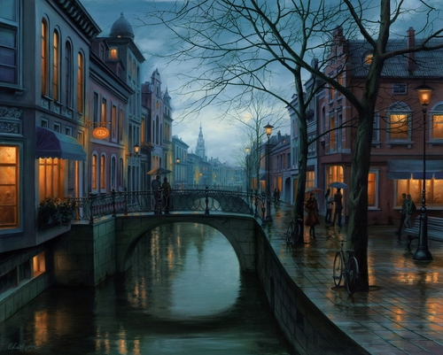 22-Rainy-Morning-Evgeny-Lushpin-Scenes-of-Realistic-Night-Time-Paintings-www-designstack-co