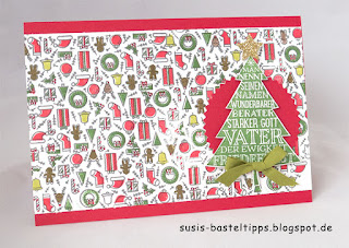 DIY Designerpapier mit Stempelset Iconic Christmas von Stampin' Up! Demonstratorin in Coburg Susis Basteltipps weihnachtskarte geschenkverpackung, weihnachtsbaum, christbaum, friedefürst, weihnachtskarte