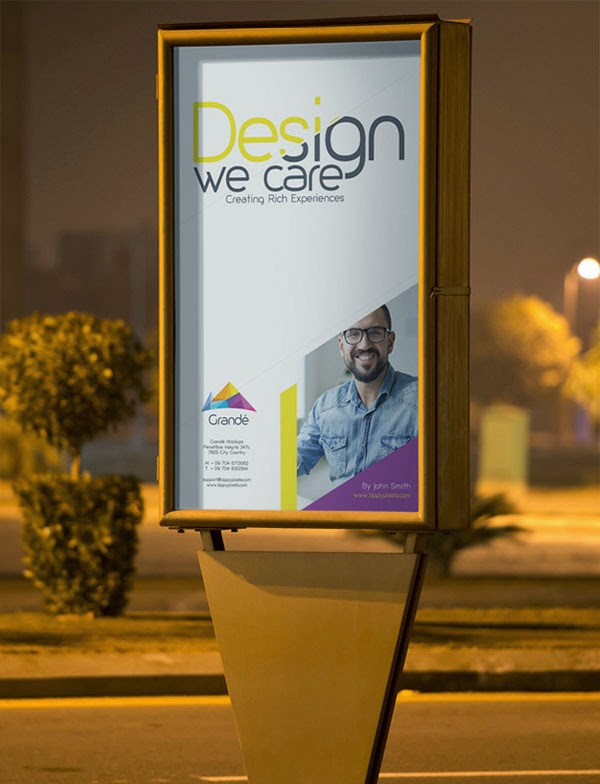 Free PSD Outdoor Roadside Poster Mockup