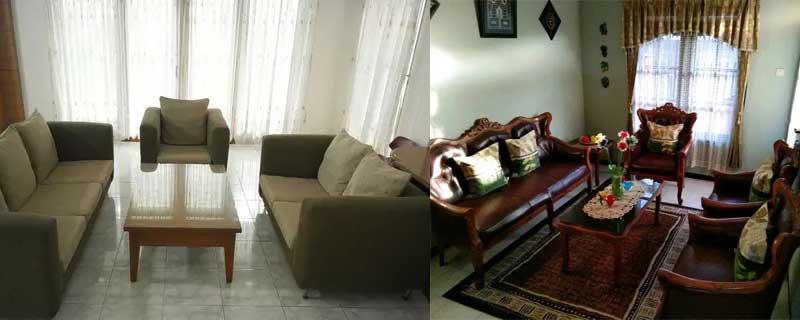 Kursi tamu sesuai dengan tema desain rumah
