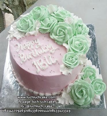 Kue Tart Bunga Bunga Cantik Hijau Toska