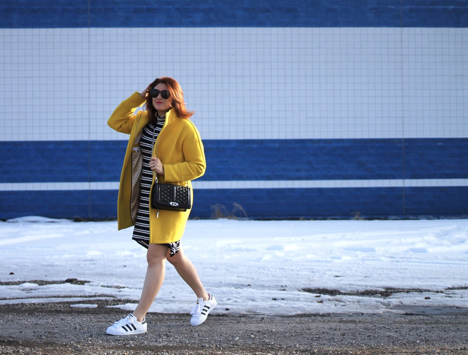 Golden Sun cocoon coat by j crew with a super soft and comfortable casual dress from Anthropologie. Looks great with adidas Classics and the rebecca Minkoff love crossbody chain strap bag in black. Easy date night outfit