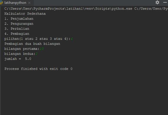 Hasil Program Python Sederhana Penjumlahan, Perkalian, Pengurangan dan Pembagian