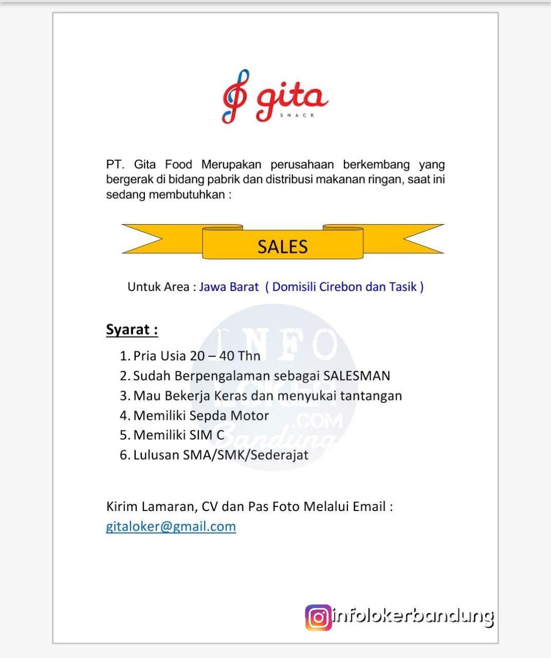 Lowongan Kerja PT.Gita Food Maret 2018