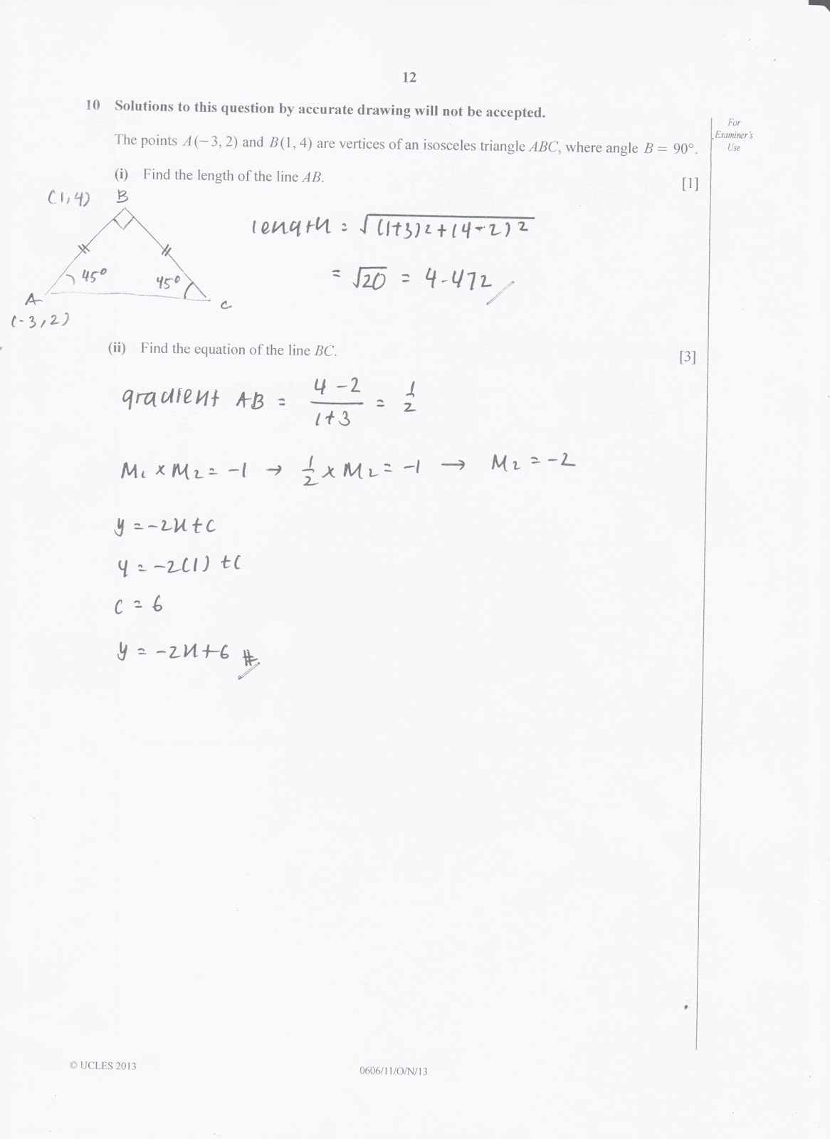 IGCSE Add Maths Working Answers [0606/11] Paper 1 2013