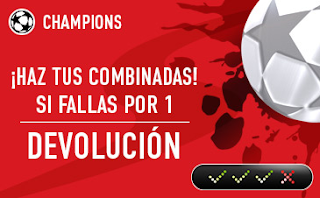 sportium promocion Champions: Combinada 'con seguro' 6-7 marzo