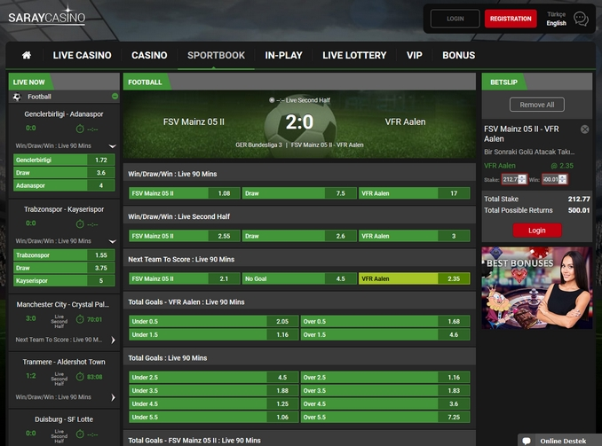 Saraycasino Live Betting Screen