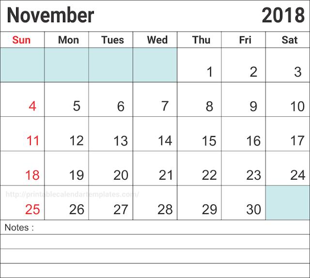 November 2018 Blank Calendar, Blank November Calendar 2018, Free November Blank Calendar 2018, November 2018 Printable Calendar, November 2018 Calendar Printable, Calendar November 2018, November 2018 Calendar Template