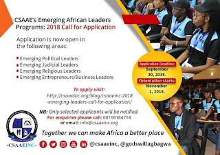 CSAAE Emerging African Leaders Program 2018